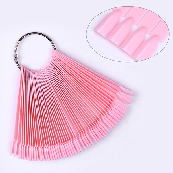50pcs False Nail Tips Color Card Acrylic UV Polish Pink White Fan Manicure Nail Art Practice Display Tool