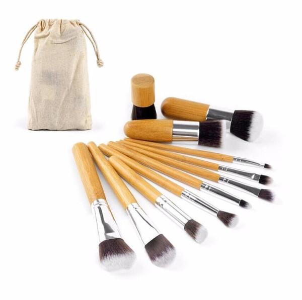 Pinceaux De Maquillage En Bambou Maquillage Pinceaux 11pcs Professionnelle Kit De Pinceau Cosmétique Fibre Cheveux Avec Tirez Sac Sac À Paupières Fondation Ombre À Paupières Outils