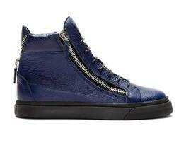 (Mit Box) Größe 35-46 schwarz / blau Farben High Top italienische Modemarke Männer Schuhe Casual Frauen Trainer Doppel-Reißverschluss Wrinkled Leder