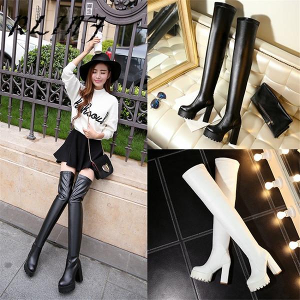 Kalın Topuk Boots ile RLINF Kalın soled Diz-yüksek Streç Tozluk Çizmeler