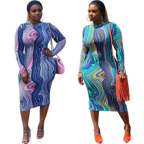 2018 Femmes Multi Print Midi Dress Casual Motif Géométrique Col Roulé À Manches Longues Dos Zipper Partie Vacances Longueur Genou Moulante Robes