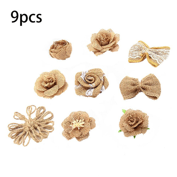 9pcs/Set Handmade Linen Cloth Flowers Roses For Christmas Gifts Wedding Decorations DIY Jewelry Decorative