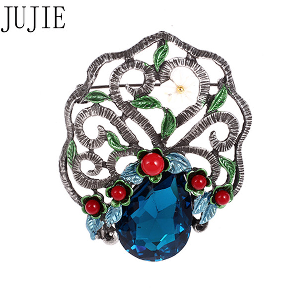 JUJIE Pearl Shell Flower Brooch For Women Fashion Wedding Bouquets Lapel Pins Glass Vintage Jewelry Dropshipping