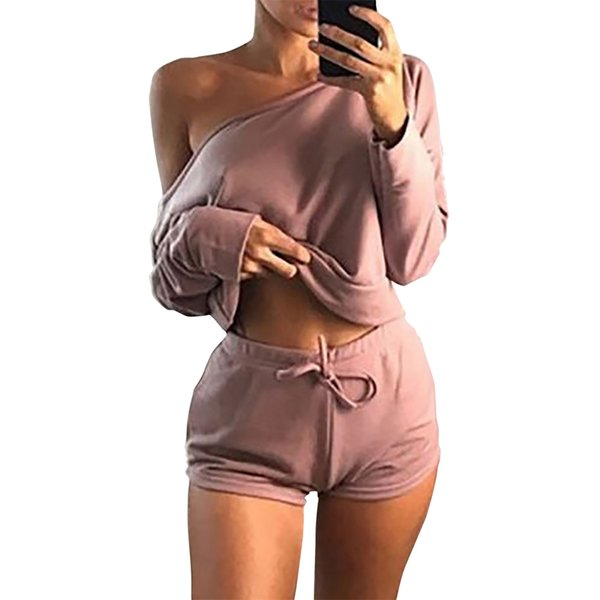 Summer 2018 Sexy Women Two Pieces Slash Neck Hoodies Tops Cotton Drawstring Shorts Lady Spring Casual Suit Plus Size Mujer GV366 S916