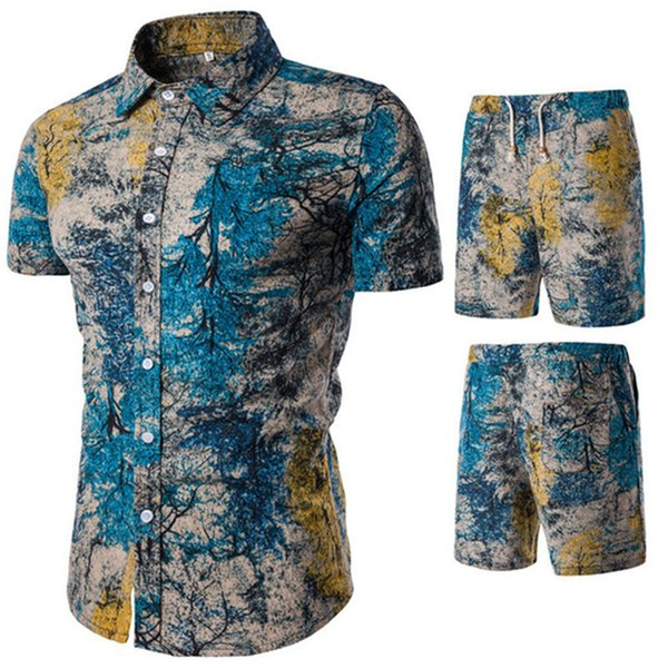 Plus Size 5XL Europe Man Track Suit Forest Print Short Sleeve Shirts And Shorts Male Beach Casual Set High Quality Linen Suits