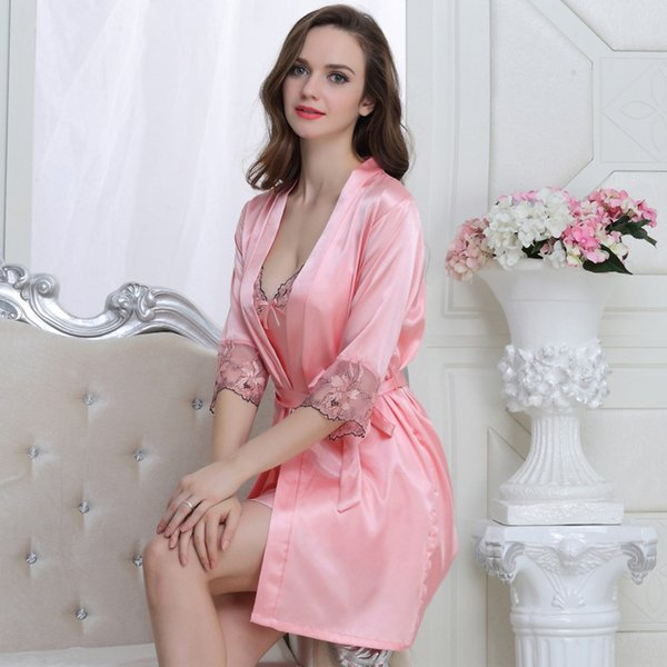 Elegant Women Silk Robe and Gown Sets Solid Nightwear Women Set Full Sleeve Lingerie Gown 2 Pieces