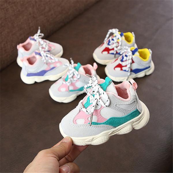 2018 Outono Bebê Menina Menino Criança Infantil Casual Running Shoes Fundo Macio Confortável Costura Cor Crianças Sneaker