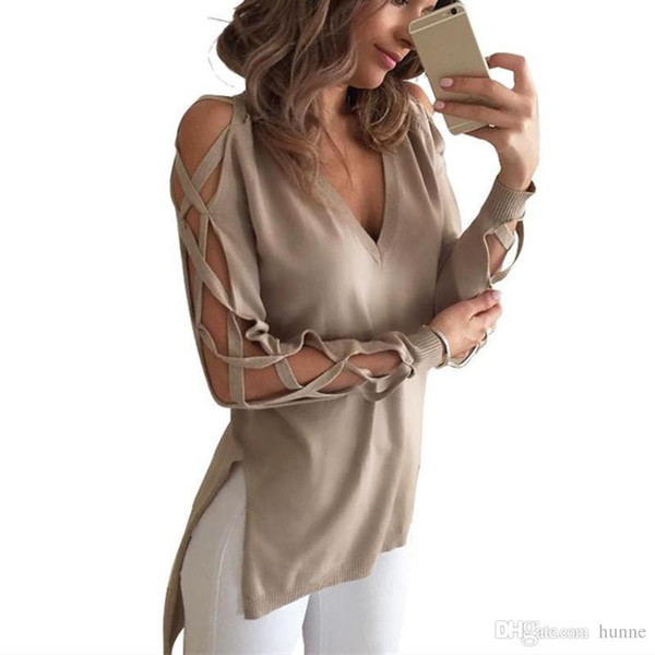 Wholesale-CELMIA 2016 New Sexy Women Hollow Out T-shirt Spring Autumn Fashion V neck Long Sleeve High Low Split Club Tops Shirts Blusas