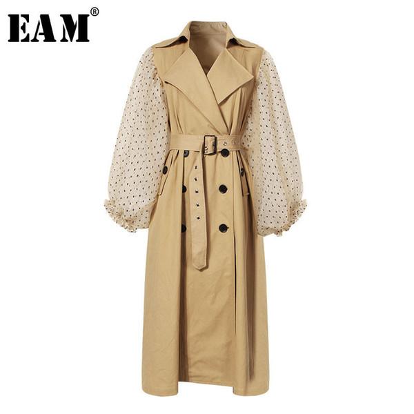 [EAM] 2018 Novo Outono Inverno Lapela Longo Puff Manga Caixilhos Dot Malha Costura Solta Longa Blusão Mulheres Casaco Moda JH394