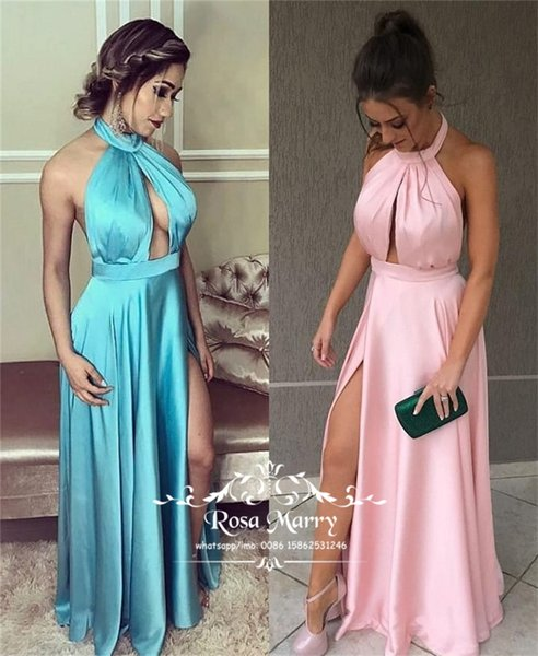 Sexy Backless Cheap Evening Dresses 2019 A Line Halter Keyhole Neck High Split Plus Size Long Satin Ruched Column Dresses Evening Party Gown