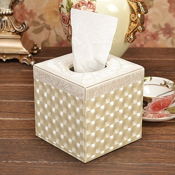 Lighting Square PU Leather Gold Flower Tissue Storage box Covers Roll Paper Napkin Towel Holders canister dispenser
