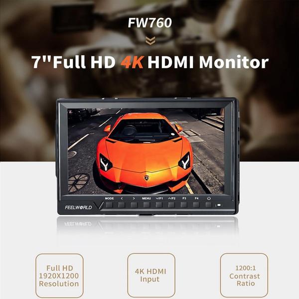 top popular Feelworld Support Up 4K FW760 7 Inch IPS Full HD 1920x1200 On Camera Field Monitor Peaking Focus Assist Histogram Zebra Exposure 2019