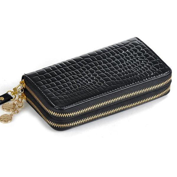 Großhandel Großhandels 2 Reißverschlüsse Marke Lange Design Casual Weibliche Geldbörsen Mode Frauen Geldbörsen Gute Qualität Lackleder Geldbörsen