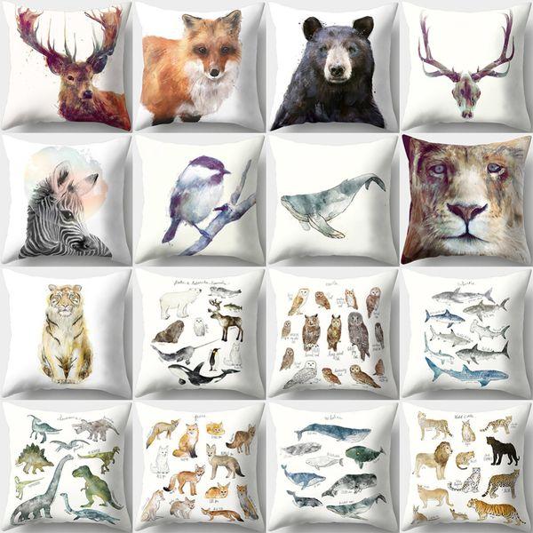 Fox Oso animal de impresión en 3D Throw Pillow caso decorativo Oficina Principal