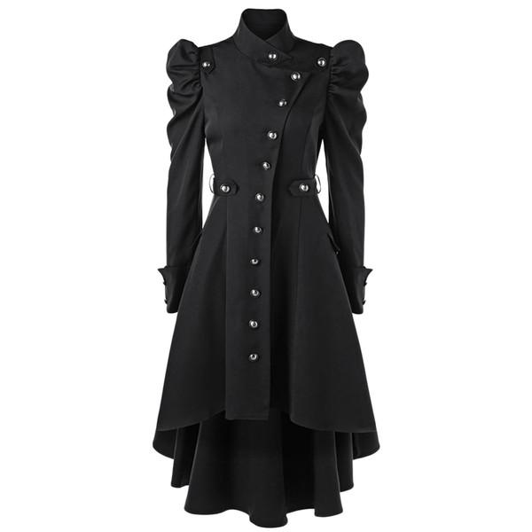 Gamiss Herbst Wintermantel Frauen Puff Schulter New Button Up Dip Saum Lange Trenchcoat Fashions Stehkragen Oberbekleidung Mäntel
