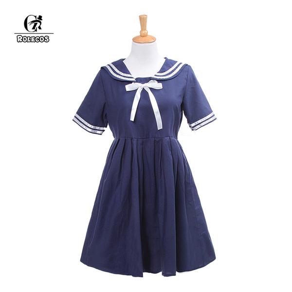 ROLECOS Brand New Japanischen Adrette Lolita Kleid Cosplay Kostüm Navy Style Sailor Bow Kleid Frauen Weiß Lolita