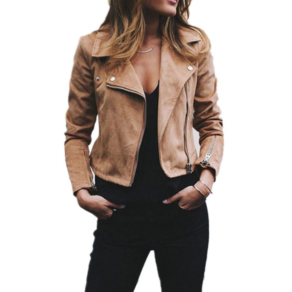 Serin Sokak Giyim Kabanlar Palto Ceket Bayan Bayanlar Retro Perçin Fermuar Up Bombacı Casual Dış Giyim palto kadınlar için ceketler