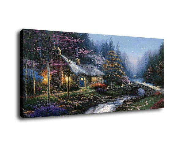 Phenomenal 2019 Thomas Kinkade Landscape Twilight Cottage Oil Painting Reproduction High Quality Giclee Print On Canvas Modern Home Art Decor From Xmqh2017 Home Interior And Landscaping Ologienasavecom