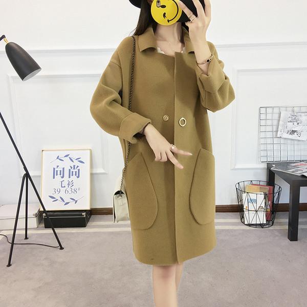 2018 Autumn Winter Lady Korea Style Cardigan Sweater Women Free Size Fashion Ladies OL Solid Long Cardigan Women's Sweaters Coat