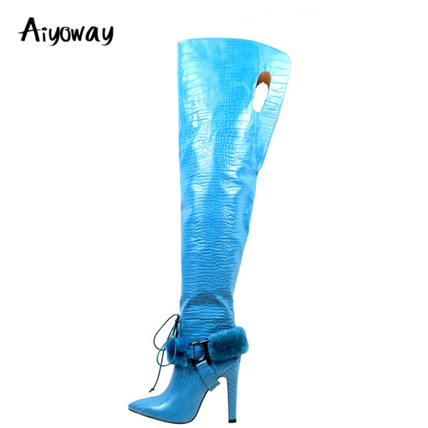 6eebcc11cf Aiyoway Women Ladies Pointed Toe High Heel Over Knee Boots Ankle Fur  Decorated Crocodile Pattern Winter