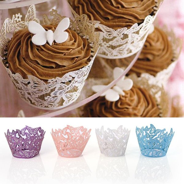 50PCS Butterfly Edge Paper Cups Lace Laser Cut Cupcake Paper Wrappers Cake Baking Cup Home Wedding Birthday Party Decoration