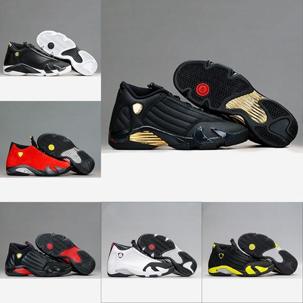 Großhandel Nike Air Jordan 14 Retro Mens Designer 14 14s Basketball Schuhe Der Letzte Schuss Thunder Red DMP Herren Playoffs Black Toe Indiglo