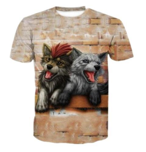 Fashion Men/Women 3D Funny T Shirt Cute Little Wolves Red & Gray Hair Animal Print T Shirts Summer O-neck Quick Dry Tops Clothing