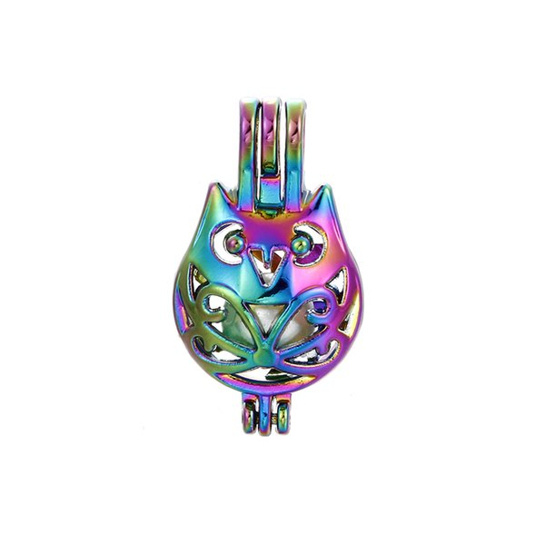 10pcs Rainbow Color Owl Pearl Cage Beads Cage Essential Oil Diffuser Locket Pendant DIY Jewelry Making for Oyster Pearl Gifts