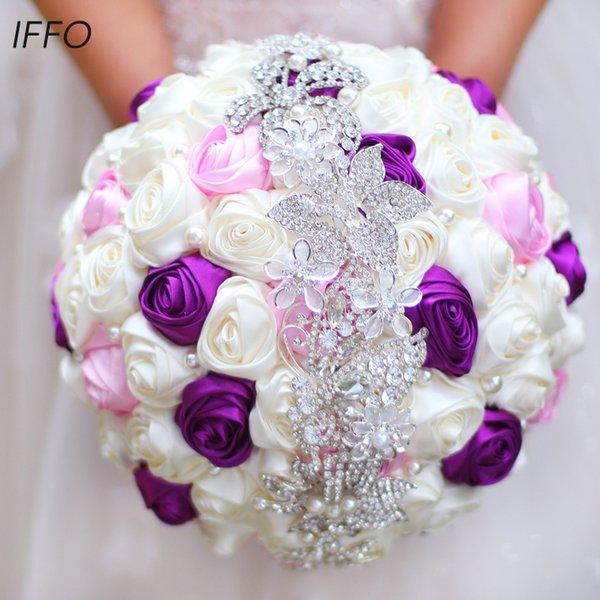 Ücretsiz Kargo Gelin Çiçek Buketi, Yeni Gelenler Romantik Renkli Güller Düğün Buketi Gelin Buketi, Mor Pembe Gelin Buketi