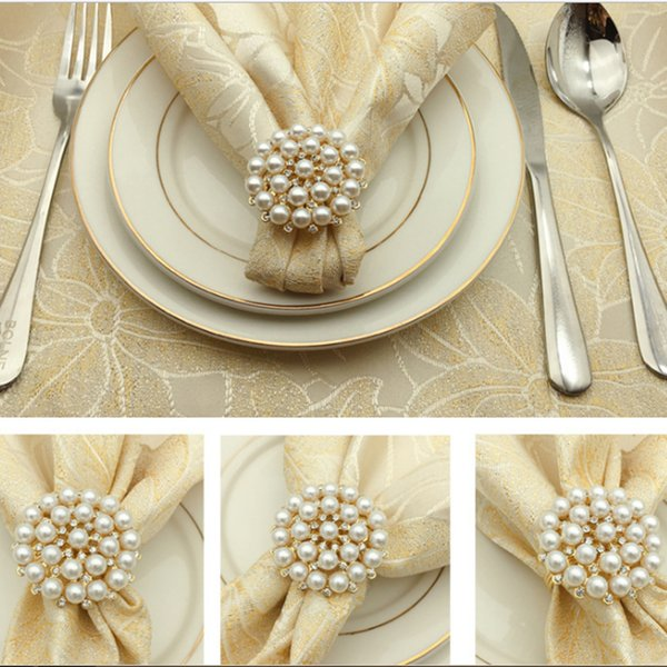 12pcs SHSEJA Luxurious Napkin Hotel Wedding Supplies Napkin Ring Gold Plated Diamond Pearl Buckle Desktop Decoration