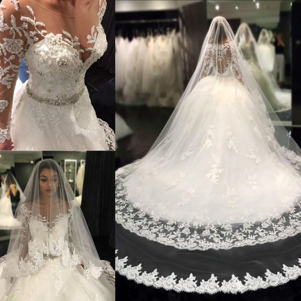 Luxury Beads Lace Wedding Dresses Long Sleeve Sheer Plus Size Train Ball Africa Country Custom Vestido de novia Formal Bridal Gown Arabic