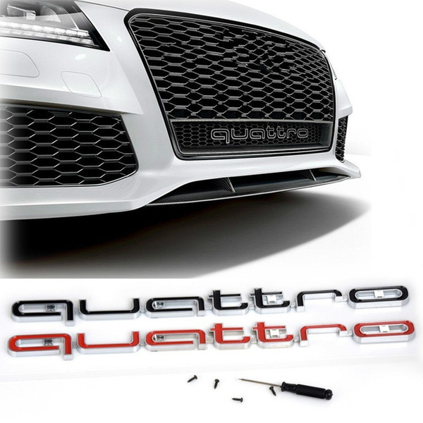 High Quality Audi Quattro Logo Emblem Car Badge ABS 3D Stickers Front Grill Lower Trim For Audi A4 A5 A6 A7 RS3 RS5 RS6 RS7 Q3 Q5 Q7