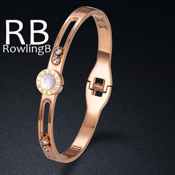 Women Titanium Steel Fashion Bracelet Bangle Rose Gold Bangle Rhinestone Shell Fashion Jewelry Roman Number Bracelets