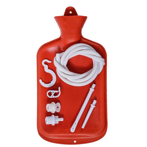 Saco Enema Red Limpo Anal Douche Silicone para Homens Mulheres BPA Free (2 Quart) Garrafa de Água Quente - Coffee Douche Enema Adulto Casa Kit