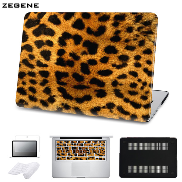 5 in 1 Bundle Leopard Cover Case For Apple Macbook Air Pro Retina 11 12 13 15 inch Hard Shell Laptop Bag With Keyboard Sticker