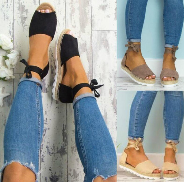 4ce277e736c New women Gladiator sandals shoes Europe Fashion Ladies Rome Cross-tied  pumps Straw hemp rope Thick bottom sandals