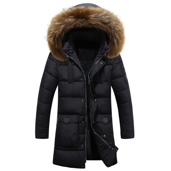Fashion Zipper Mens Winter Jackets and Coats Fur Hoodies Zipper Long Coat Quilted Jacket Hat Detachable Warm Thick Parka