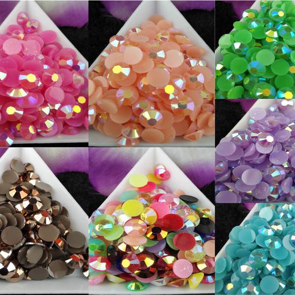 1000 pçs / saco SS30 6mm 7 Cor Geléia AB Resina Cristal Strass FlatBack Super Glitter Nail Art Strass Decoração de Casamento Contas Não HotFix 3