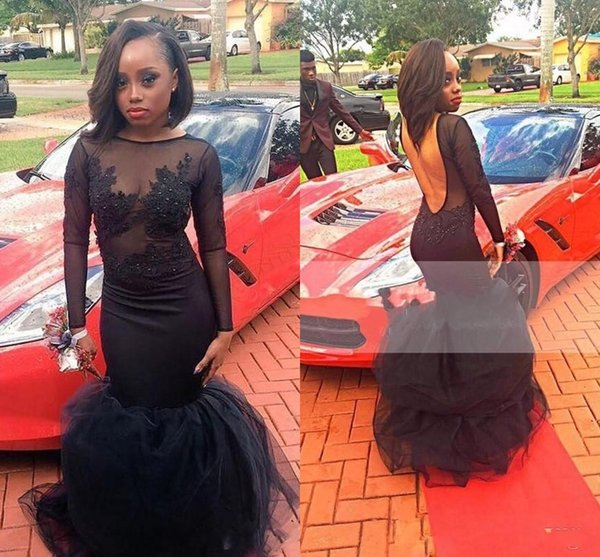 Black Girl Mermaid Evening Gowns Illusion Top Long Sleeves Boat Neckline Sexy Backless Floor Length Prom Dresses