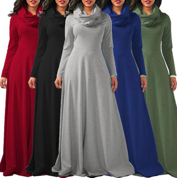 Bufanda de las mujeres se visten los vestidos de invierno gran oscilación de la bufanda de cuello alto vestido largo atractivo partido de la moda delgada cálida los vestidos de la longitud ooa4077