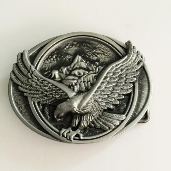 1 шт. супер прохладный 3D серебряный орел ковбои пряжки ремня женщина мужчина джинсы ювелирные изделия аксессуары металлический ремень головы Fit 4 см широкий ремни