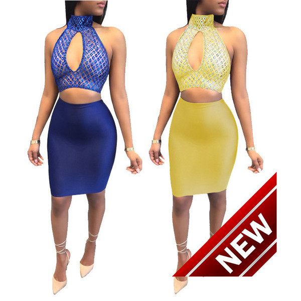 Suit-dress Autumn New Pattern Package Buttocks Paillette Halter Perspective Reveal Back Nightclub Skirt Suit Half-body Night club dress