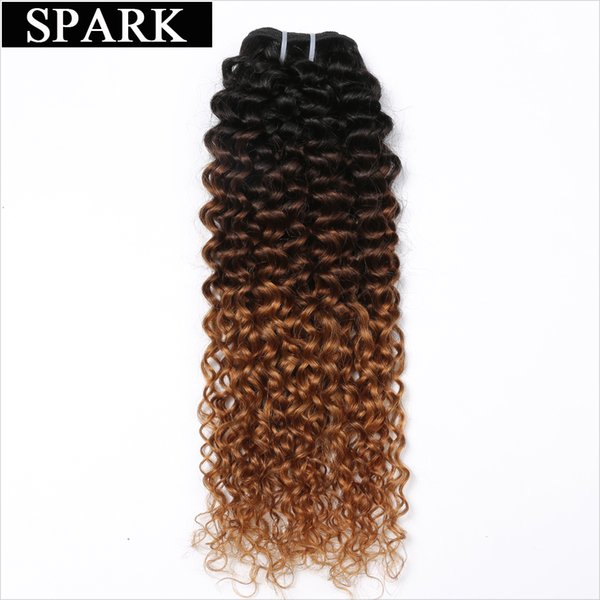 Spark Malaysian Kinky Curly Hair 3 Tone Ombre 1b/4/30 Hair Bundles No  100% Human Hair Weave 12-26 inches non Remy No Shed