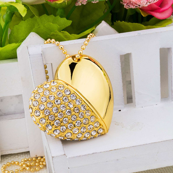 Gold Crystal Heart Shape 8G 16G 32G 64G USB 2.0 Flash Drives Enough Memory Sticks Thumb Pen Drive for Computer Laptop Macbook Tablet