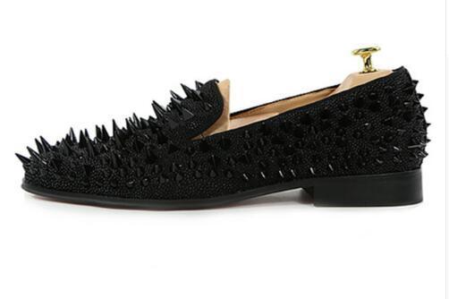 Yeni Erkekler El Yapımı Çiviler Spike Ayakkabı Siyah Şerit Altın Glitter Loafer'lar Ayakkabı Pist Shining Perçinler Parti Düğün Ayakkabı