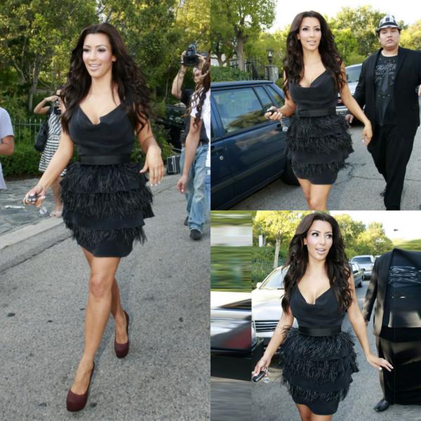 Kim Kardashian Preto Curto Prom Vestidos Querida Na Altura Do Joelho Espartilho Formal Partido evening vestido Elegante Tapete Vermelho Inspirado Prom com franja