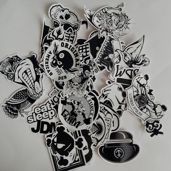 Novo 60 PCS Preto e Branco Adesivo de Skate Graffiti Decalque Brinquedo Laptop Bicicleta Motocicleta Car Styling Doodle DIY Legal Adesivos