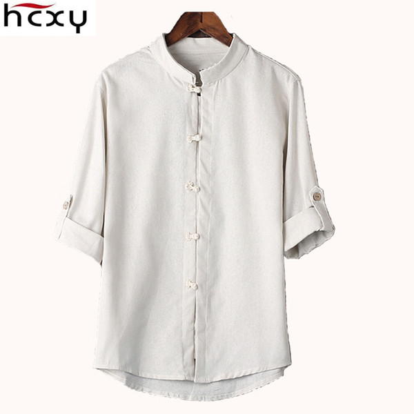 HCXY Chinese style linen shirt mens blouse new big yards 7 points sleeve cotton shirt M-5XL famous brand men shirts 2017 S917
