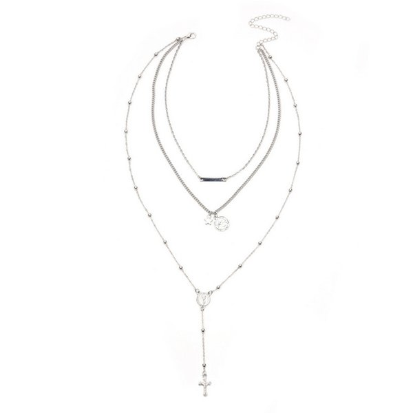 MJARTORIA Fashion Women Three-layers Star Virgin Cross Long Pendant Necklaces Sexy Alloy Clavicle Necklaces Tassel Accessories