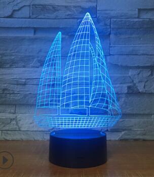 Sailing 3d creative colorful night light plug-in remote control usb light manufacturer customization